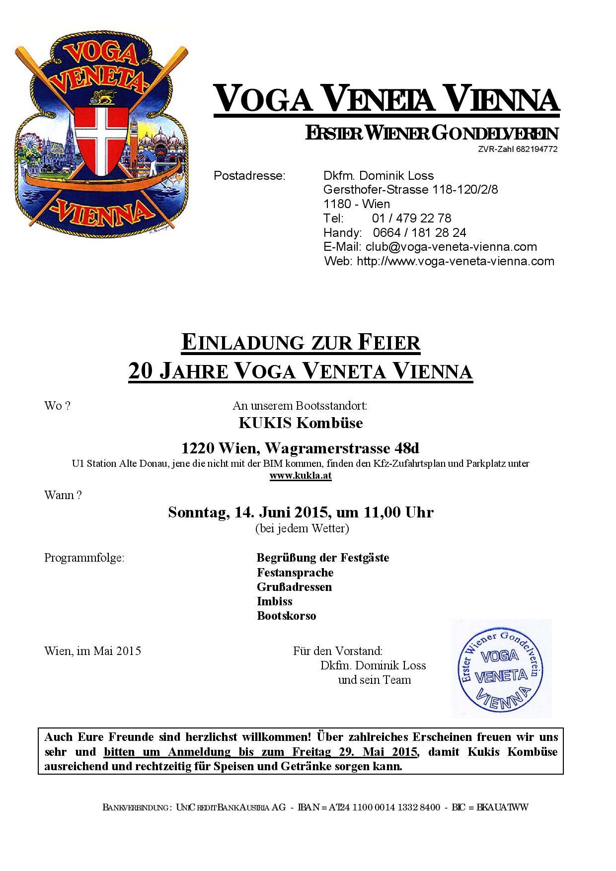 Einladung 20 Jahre Voga Veneta Vienna